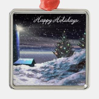 Lighthouse Christmas Metal Ornament