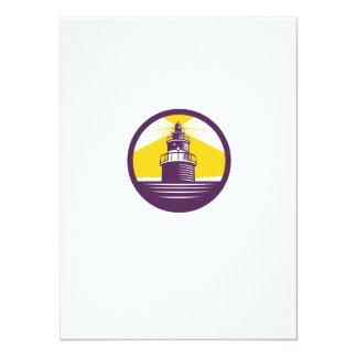 Lighthouse Circle Woodcut Card