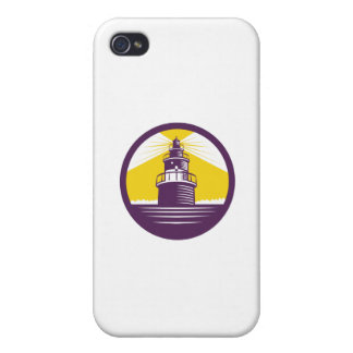 Lighthouse Circle Woodcut Covers For iPhone 4