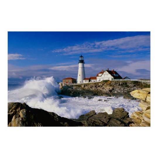 Lighthouse Crashing Waves Poster