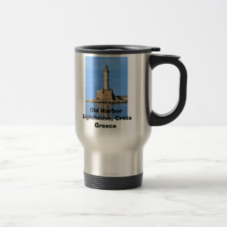 Lighthouse Crete Greece Old Harbor, Old Harbor ... Travel Mug