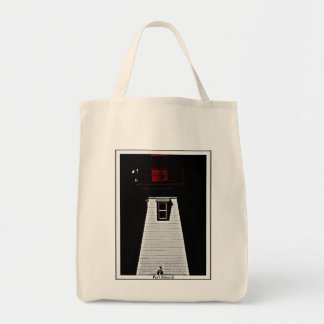 Lighthouse & crow photo on natural  tote