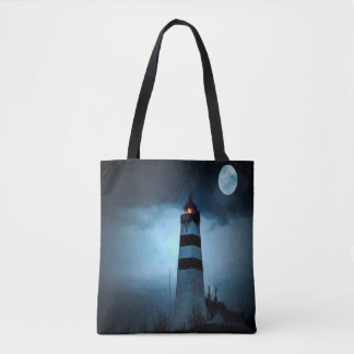 Lighthouse dark night with moon tote bag