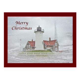 Lighthouse in Snow Merry Christmas Postcard