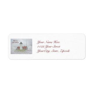 Lighthouse in Snow Merry Christmas Return Address Label