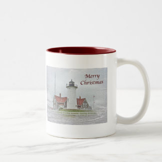Lighthouse in Snow Merry Christmas Two-Tone Coffee Mug