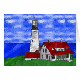 Lighthouse In Stained Glass Card