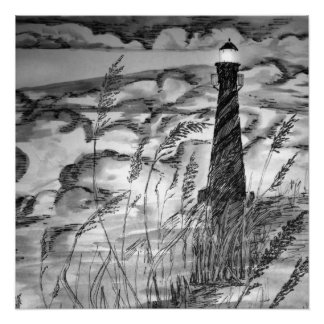 Lighthouse In The Storm Perfect Poster