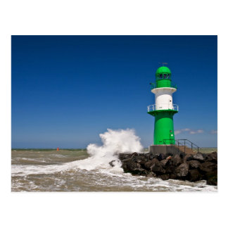 Lighthouse in Warnemuende on the Baltic Sea coast Postcard