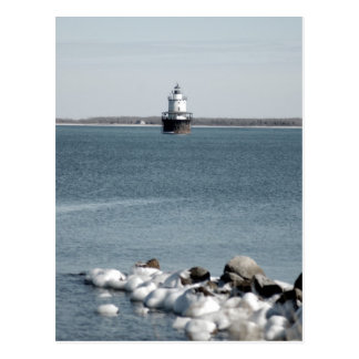 Lighthouse in Winter Postcard