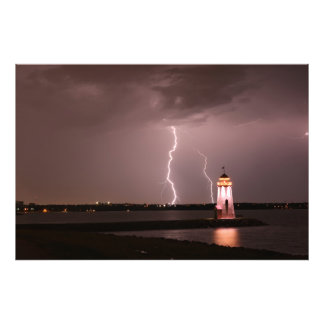 Lighthouse Lightning at Lake Hefner Photo Print
