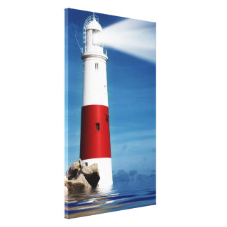 Lighthouse lookout at sea canvas print