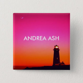 LIGHTHOUSE NAME TAG 2 INCH SQUARE BUTTON