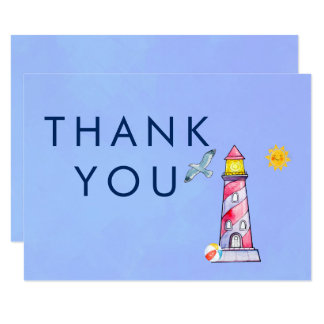 Lighthouse Nautical Theme Thank You Card
