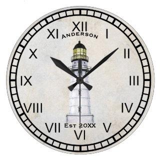 Lighthouse Nautical Wall Clock Gray Grunge