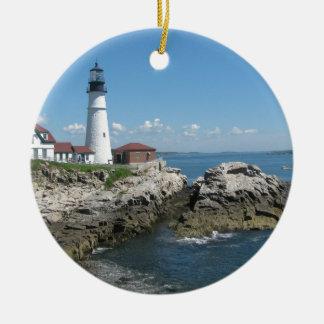 Lighthouse Of Bar Harbor Round Ceramic Ornament