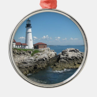 Lighthouse Of Bar Harbor Silver-Colored Round Ornament