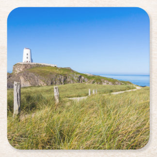 Lighthouse on Llanddwyn Island, Anglesey, Wales Square Paper Coaster