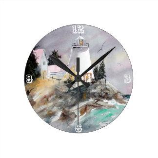 Lighthouse on rocky shore clock