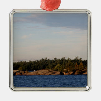 Lighthouse on Shoal Island Silver-Colored Square Ornament