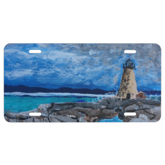 Lighthouse Painting License Plate