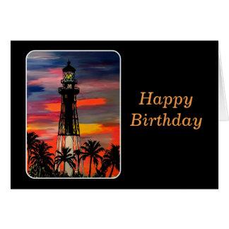 'Lighthouse Pop!' painting on a Card