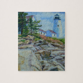 Lighthouse print on puzzle