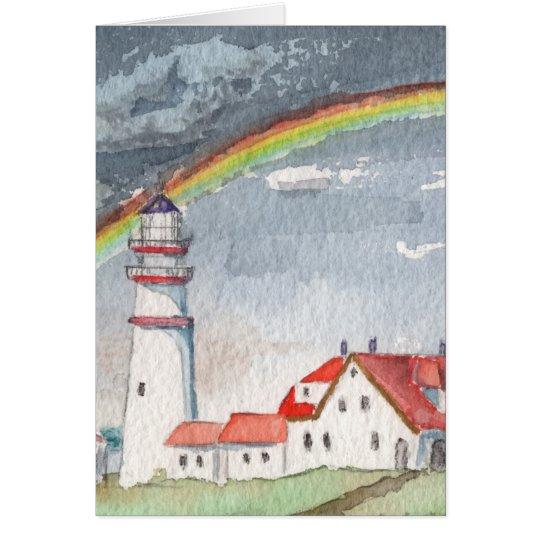 Lighthouse Rainbow Blank Greeting Card