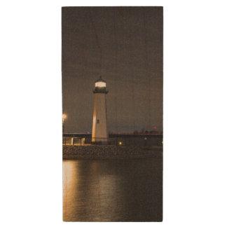 Lighthouse Rockwall Harbor Wood USB Flash Drive