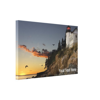 Lighthouse Scene with Pink Cloud Canvas Print