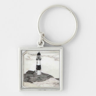 Lighthouse Scrimshaw Keychain