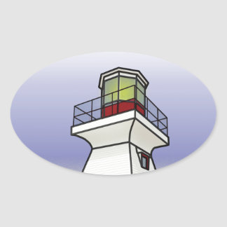 Lighthouse Sea Scene Oval Sticker