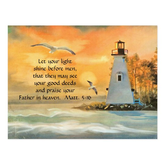 Lighthouse Seagulls Christian Bible Verse Postcard