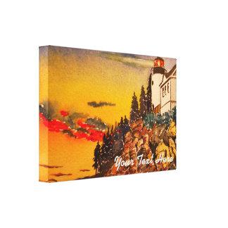 Lighthouse Seascape at Sunset Canvas Print