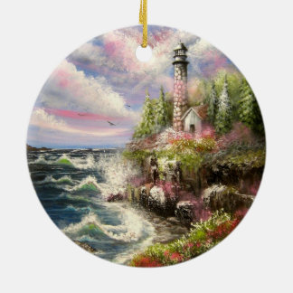 Lighthouse Seascape Ceramic Ornament