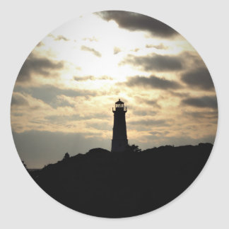 Lighthouse Silhouette Classic Round Sticker