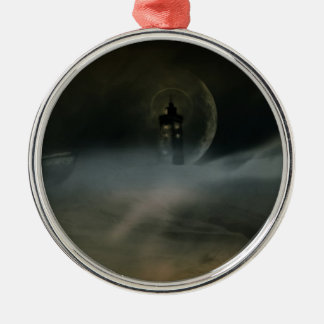 lighthouse Silver-Colored round ornament