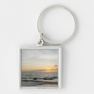 Lighthouse Sunrise Silver-Colored Square Keychain