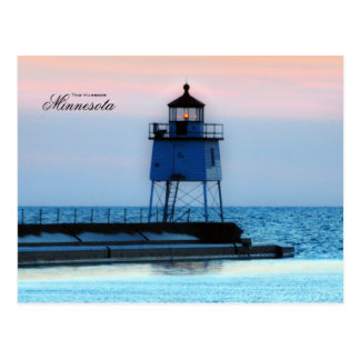 Lighthouse two Harbors Minnesota Postcard