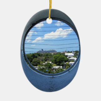 Lighthouse view of Mallory Square Ceramic Oval Ornament