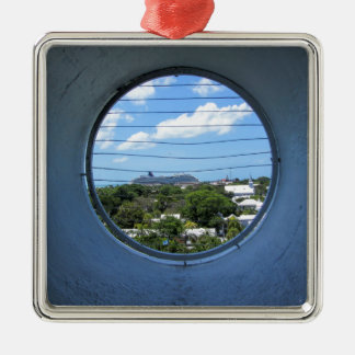 Lighthouse view of Mallory Square Silver-Colored Square Ornament