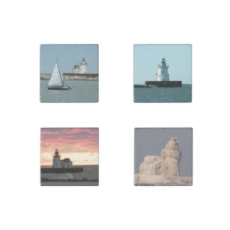 Lighthouse Views Cleveland Ohio Stone Magnets