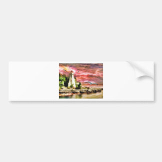 lighthouse water painting bumper sticker
