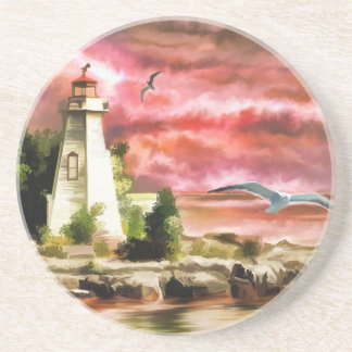 lighthouse water painting coaster