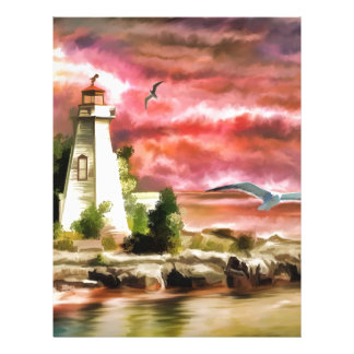 lighthouse water painting letterhead