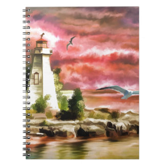 lighthouse water painting notebook
