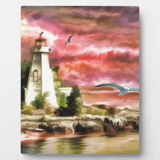 lighthouse water painting plaque