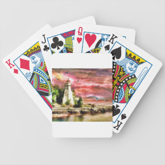 lighthouse water painting poker deck