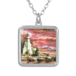lighthouse water painting silver plated necklace