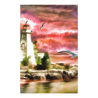 lighthouse water painting stationery